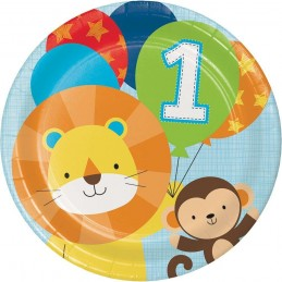 Boys Jungle 1st Birthday Large Plates (Pack of 8)