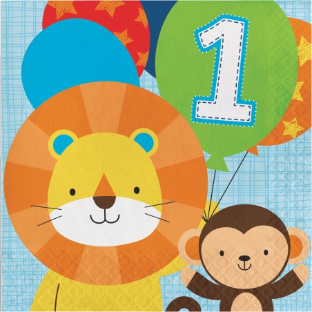 Boys Jungle 1st Birthday Large Napkins (Pack of 16)