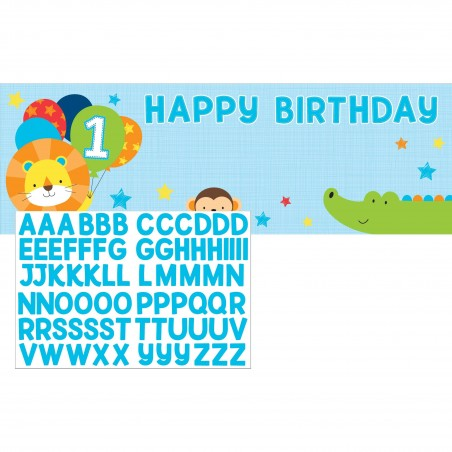 Boys Jungle 1st Birthday Party Plastic Banner Kit