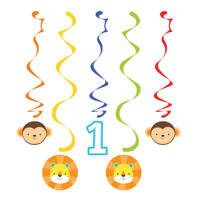 Boys Jungle 1st Birthday Swirl Decorations (Pack of 5)