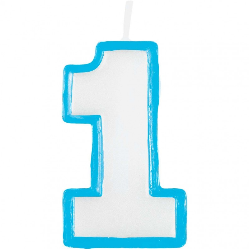 Blue outline number 1 birthday candle jungle 1st for Number 1 decorations