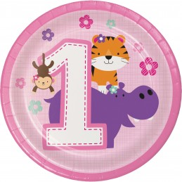 Girls Jungle 1st Birthday Small Plates (Pack of 8)