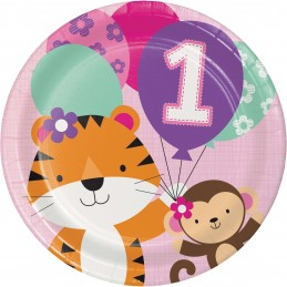Girls Jungle 1st Birthday Large Plates (Pack of 8)