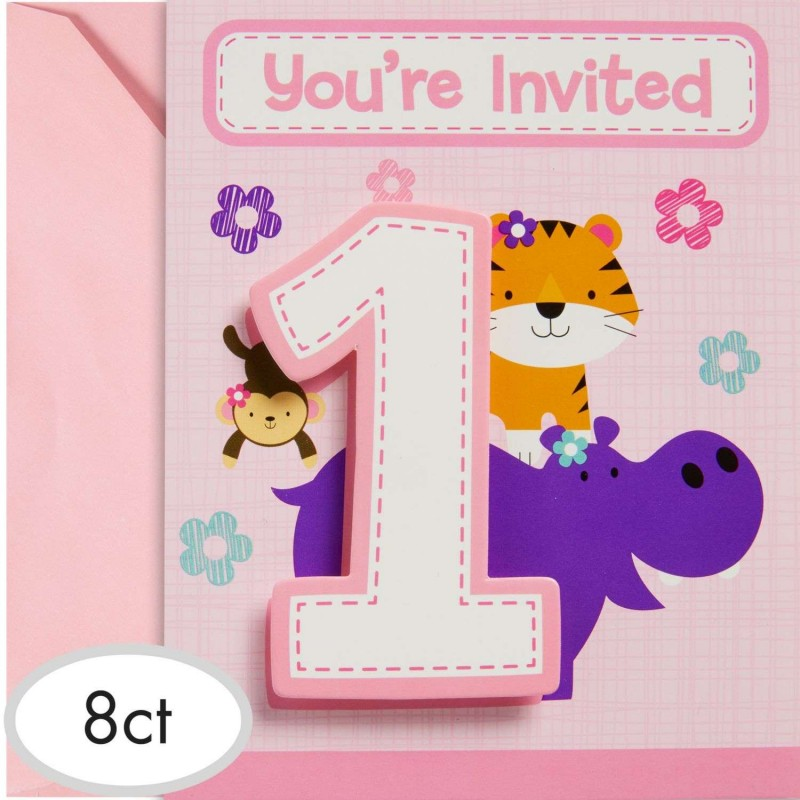 Girls jungle 1st birthday party invitations pack of 8 for 1st birthday party decoration packs