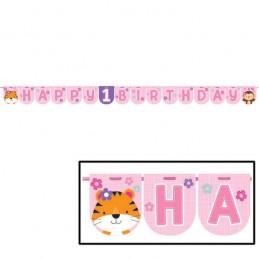 Girls Jungle 1st Birthday Party Banner