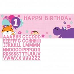 Girls Jungle 1st Birthday Party Plastic Banner Kit