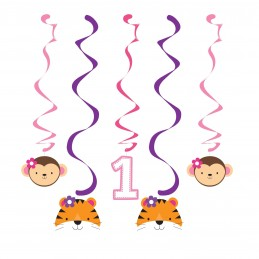 Girls Jungle 1st Birthday Swirl Decorations (Pack of 5)