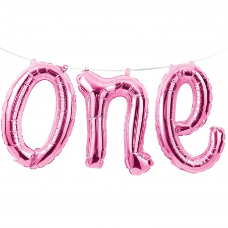 Pink 1st Birthday One Foil Letter Balloon Banner