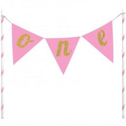 1st Birthday Pink/Gold One Glitter Cake Topper