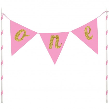 1st Birthday Pink/Gold One Glitter Cake Topper