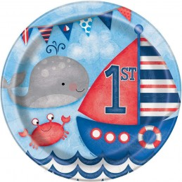 Nautical 1st Birthday Large Paper Plates (Pack of 8)