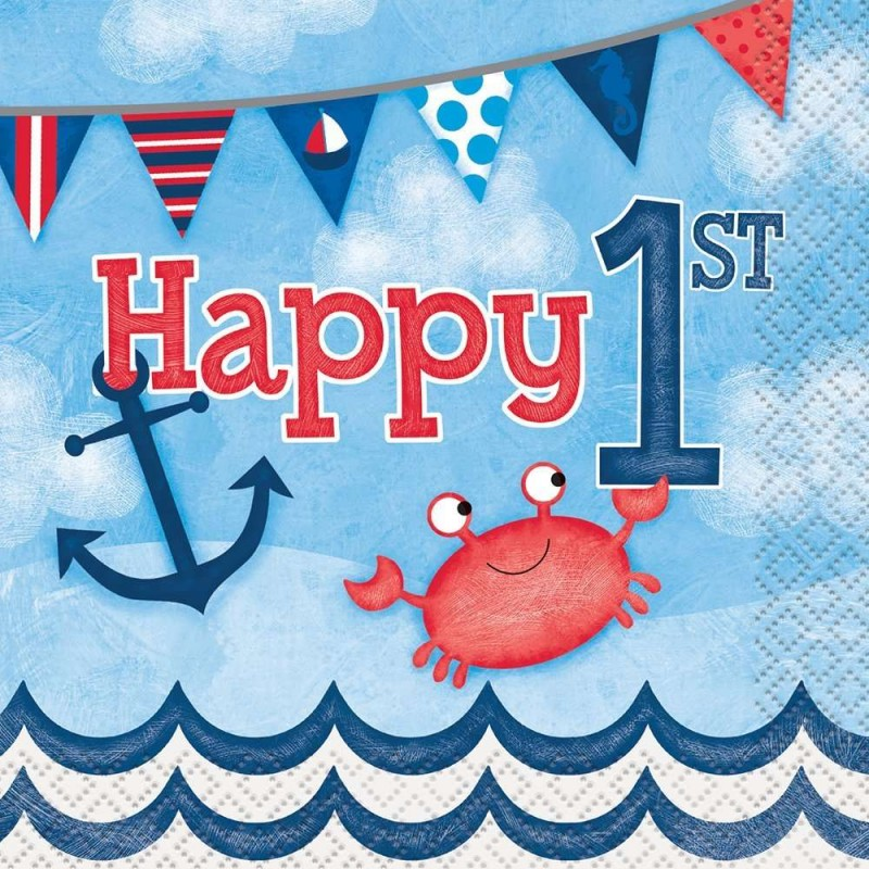 Nautical 1st birthday small napkins pack of 16 for 1st birthday party decoration packs