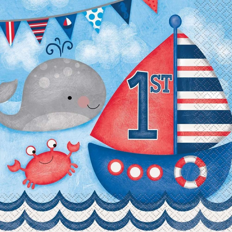 Nautical 1st birthday large napkins pack of 16 for 1st birthday decoration ideas for boys