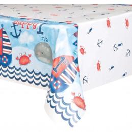 Nautical 1st Birthday Plastic Tablecloth
