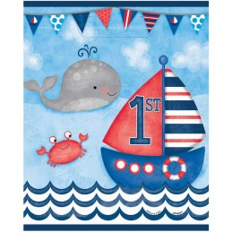 Nautical 1st Birthday Loot Bags (Pack of 8)