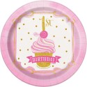 Pink & Gold 1st Birthday Small Plates (Pack of 8)