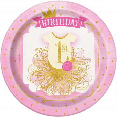 Pink & Gold 1st Birthday Large Plates (Pack of 8)