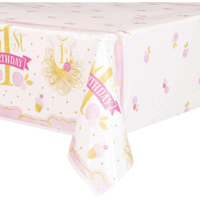 Pink & Gold 1st Birthday Plastic Tablecloth