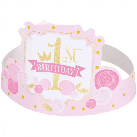 Pink & Gold 1st Birthday Party Hats (Pack of 6)