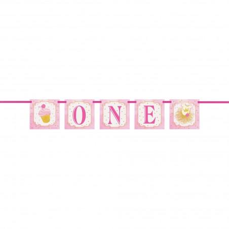 Pink & Gold 1st Birthday Banner