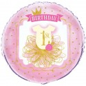 Pink & Gold 1st Birthday Foil Balloon