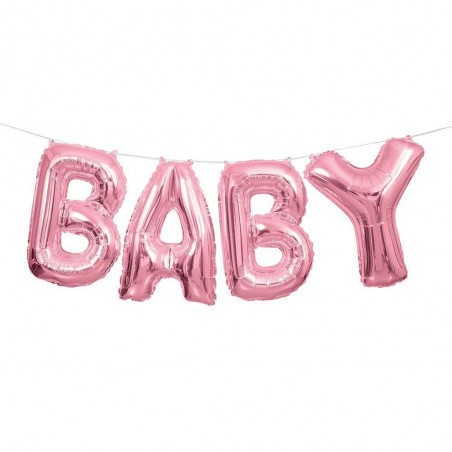 Pink Baby Foil Letter Balloon Banner