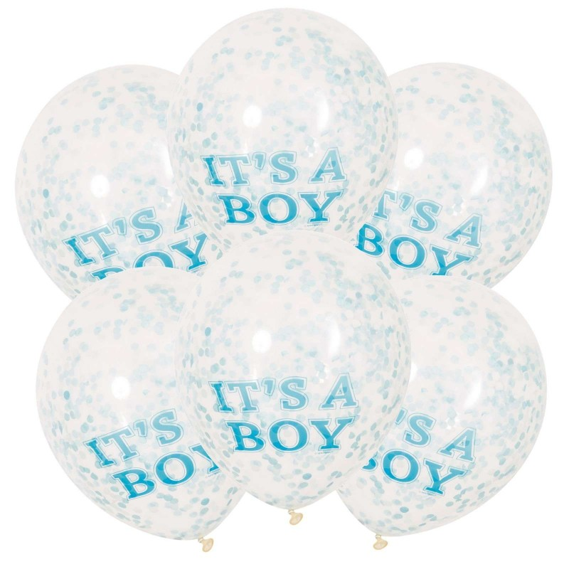 Great Itu0027s A Boy Baby Shower Confetti Balloons (Pack ...