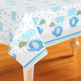 Blue Baby Elephant Plastic Tablecloth