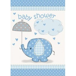 Blue Baby Elephant Baby Shower Party Invitations (Pack of 8)