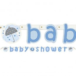 Blue Baby Elephant Baby Shower Jointed Banner