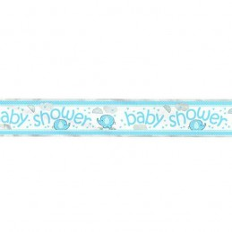Blue Baby Elephant Baby Shower Foil Banner