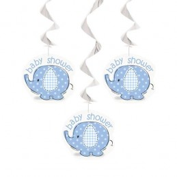 Blue Baby Elephant Swirl Decorations (Pack of 3)