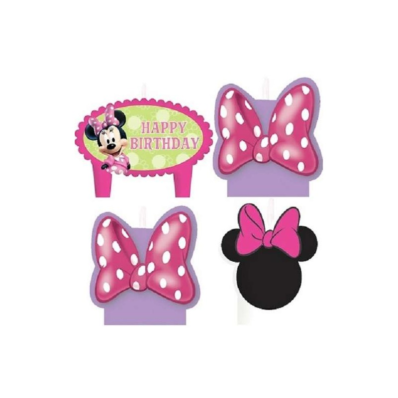 Minnie Mouse Bowtique Birthday Candles Set Of 4