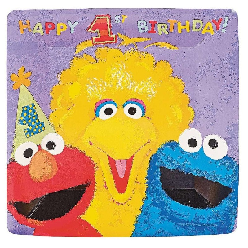 Sesame Street 1st Birthday Large Plates (Pack of 18) | Sesame Street  1st/First Birthday Party Supplies - Who Wants 2 Party