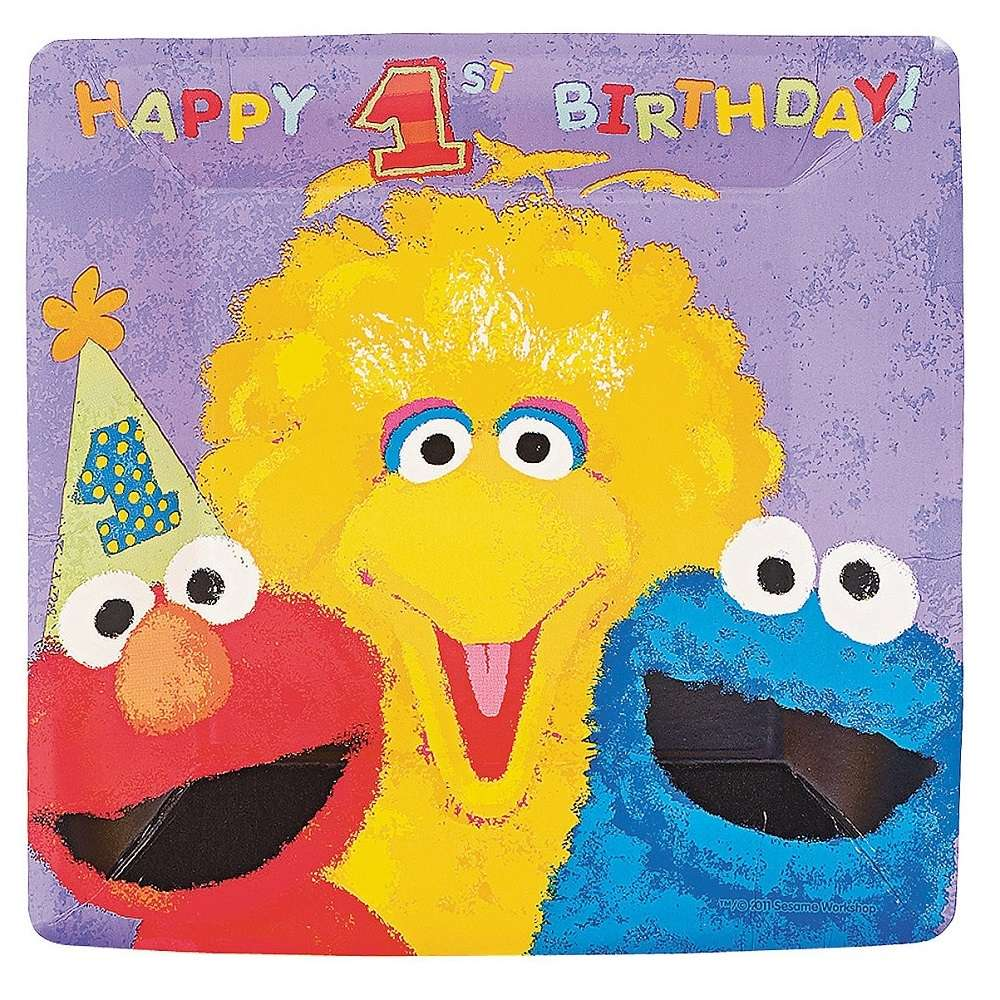 Sesame Street 1st Birthday Large Plates Pack Of 18