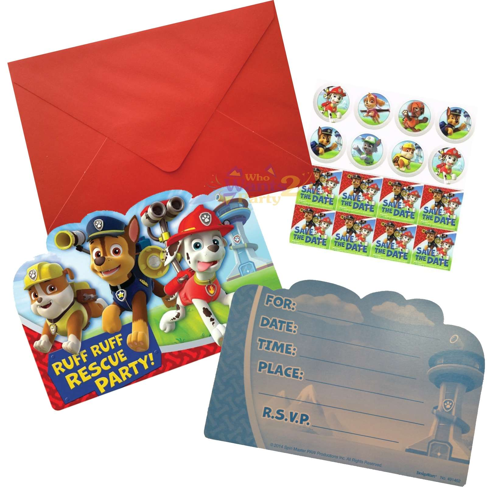 Paw Patrol Party Invitations Pack Of 8
