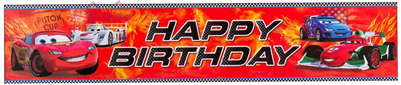 Cars 2 Happy Birthday Banner