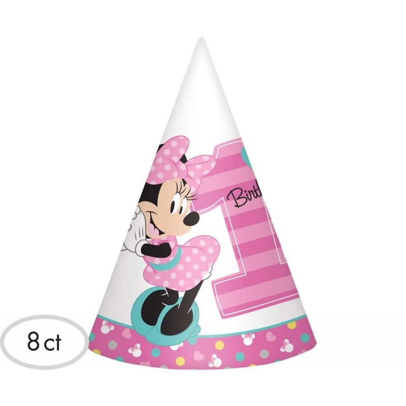 Minnie Mouse 1st Birthday Party Hats Pack Of 8