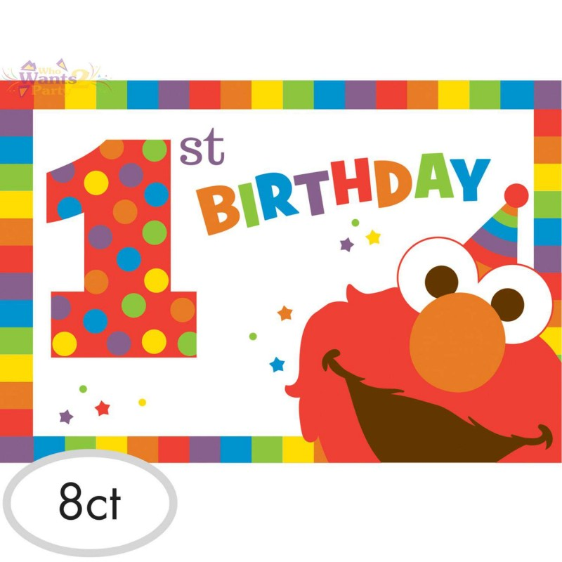Elmo 1st Birthday Party Invitations Pack Of 8