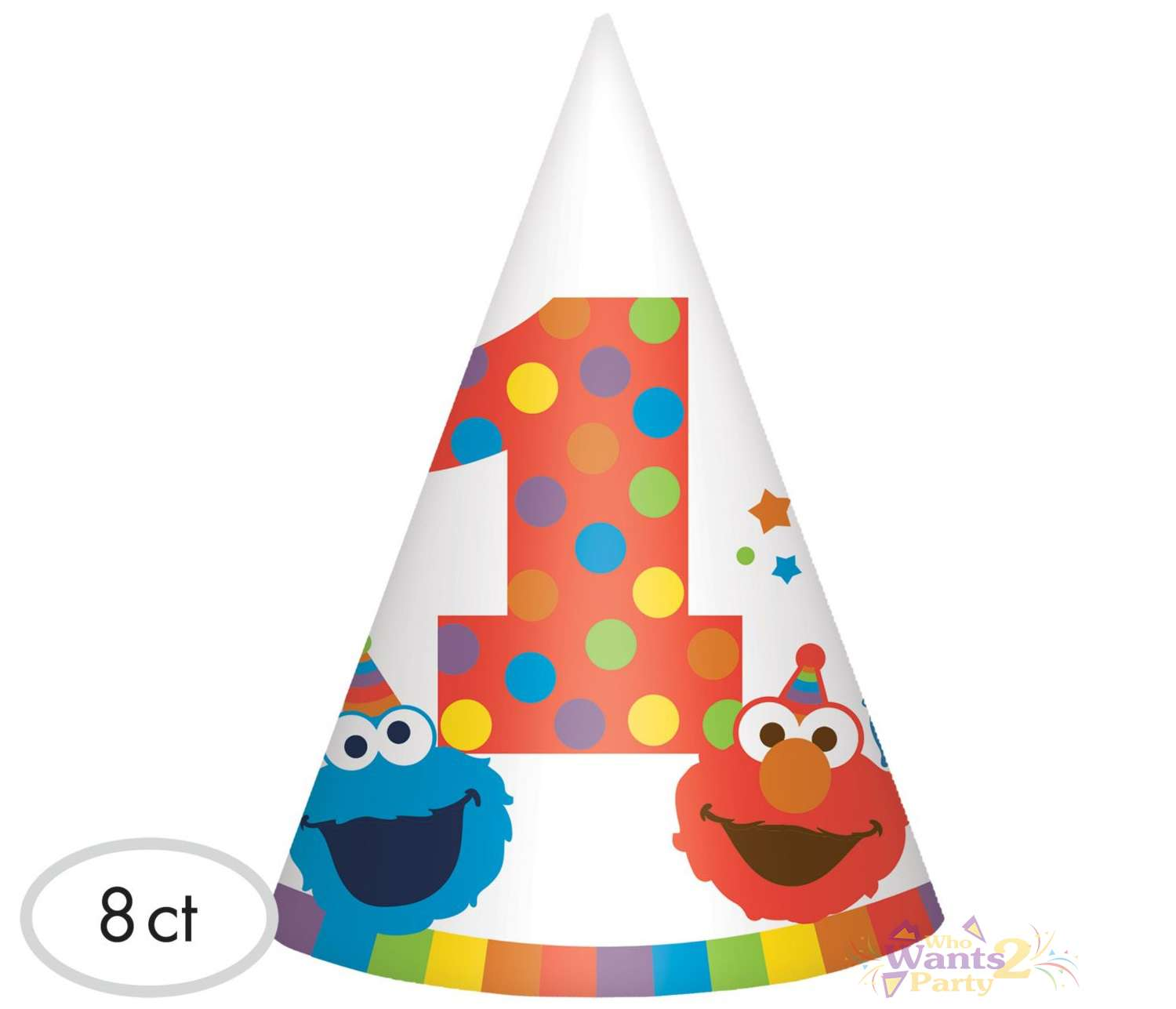 Elmo 1st Birthday Party Hats Pack Of 8