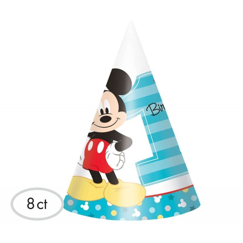 Mickey Mouse 1st Birthday Party Hats Pack Of 8