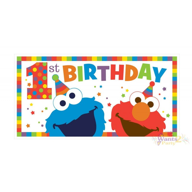 Elmo 1st Birthday Banner