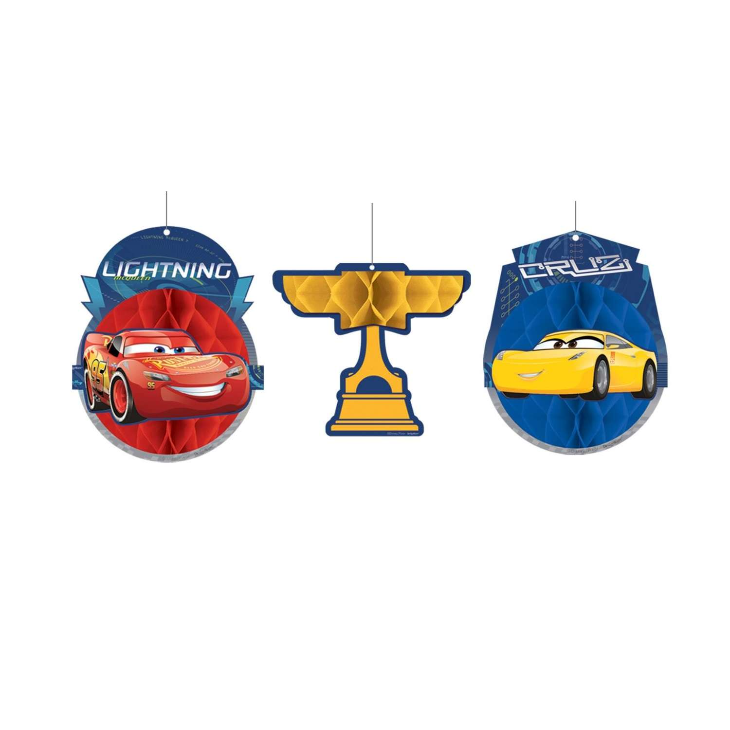 Cars 3 Honeycomb Decorations Set Of