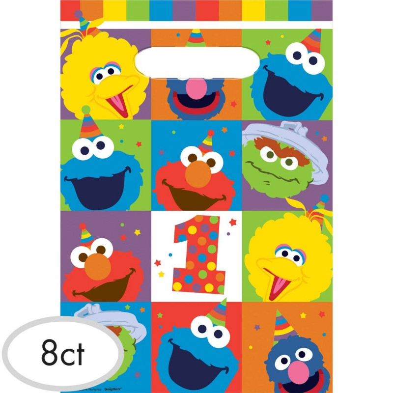 Elmo 1st Birthday Loot Bags Pack Of 8