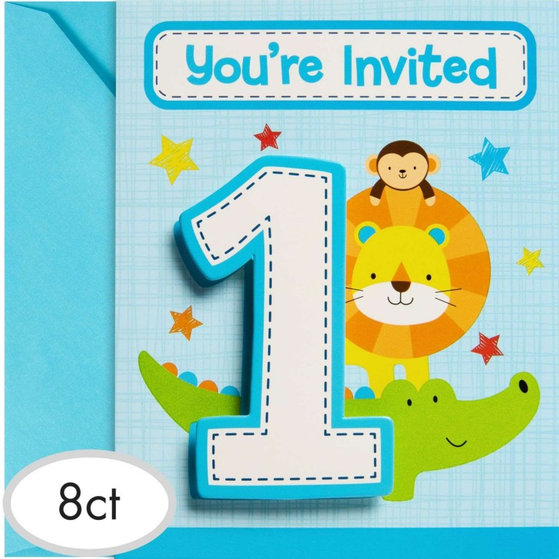 Boys Jungle 1st Birthday Party Invitations Pack Of 8
