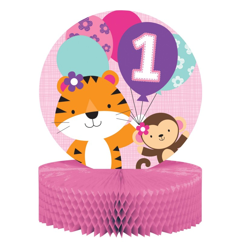 Girls Jungle 1st Birthday Centrepiece