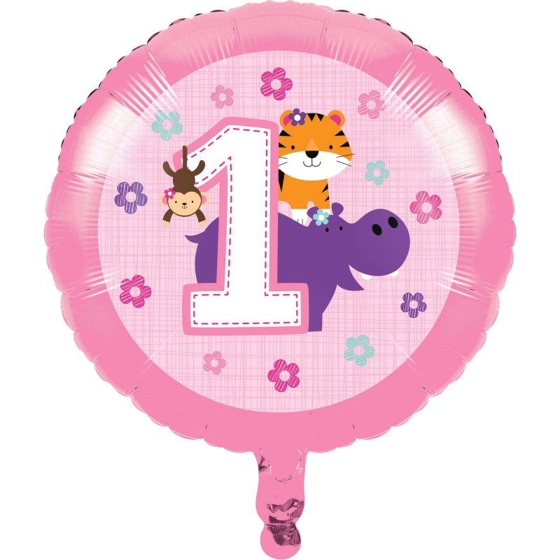 Girls Jungle 1st Birthday Foil Balloon