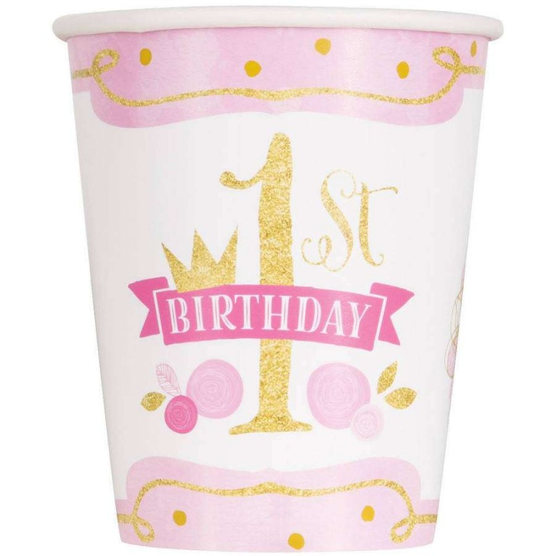 Pink Gold 1st Birthday Paper Cups Pack Of 8 Pink Gold First