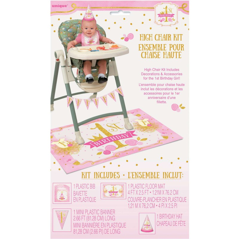 Pink Gold 1st Birthday High Chair Decorating Kit