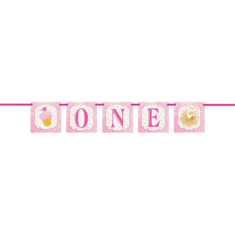 Pink Gold 1st Birthday Banner